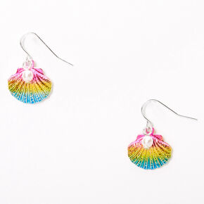 "Silver 1"" Anodized Rainbow Seashell Pearl Drop Earrings,"