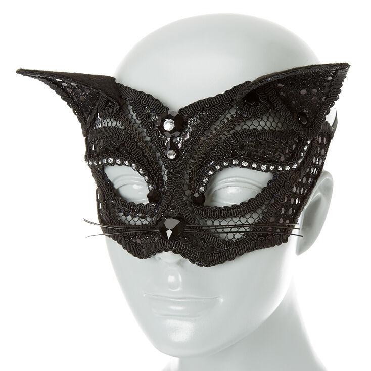 Lace Cat Mask - Black,