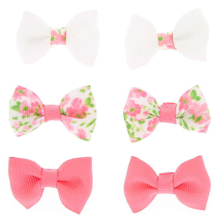 Claire's Club Bow Hair Clips - Pink, 6 Pack,