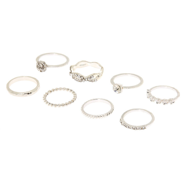 Silver Studded Assorted Ring Set - 8 Pack,
