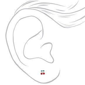 Clous d'oreilles cerise en argent avec strass Swarovski®,