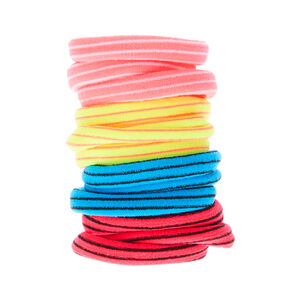 Neon Striped Hair Bobbles - 12 Pack,