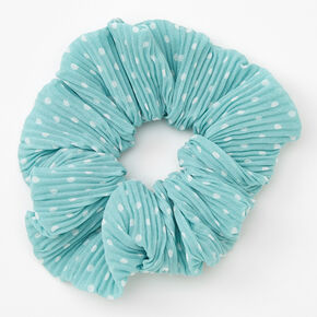 Medium Pleated Polka Dot Hair Scrunchie - Mint,