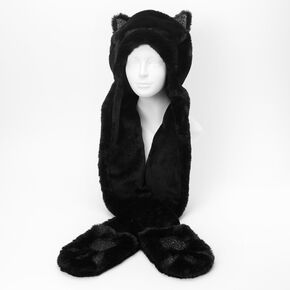 Faux Fur Hooded Cat Scarf - Black,