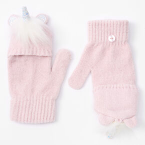 Glitter Unicorn Fingerless Gloves With Mitten Flap - Pink,
