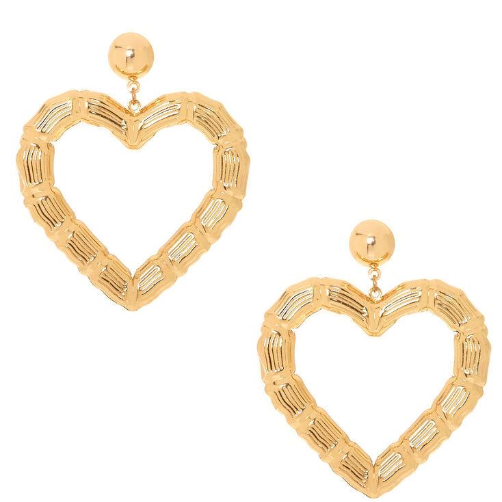 Gold Tone Textured Heart Drop Earrings