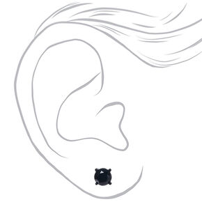 Black Cubic Zirconia Round Stud Earrings - 8MM,