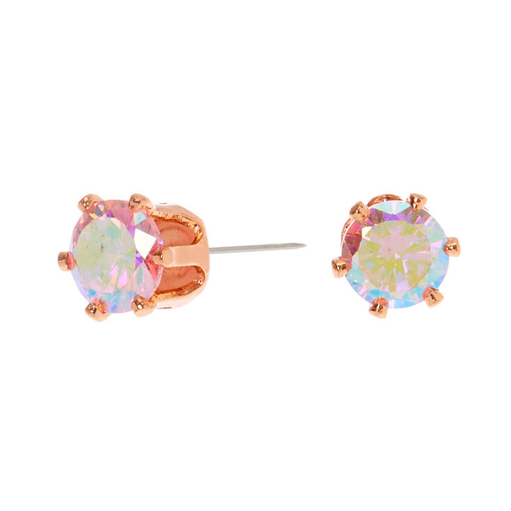 18kt Rose Gold Plated Iridescent Cubic Zirconia 5MM Round Stud Earrings - Pink,