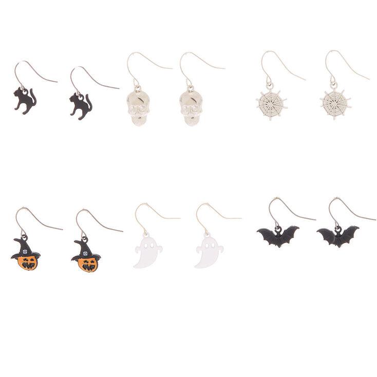 "Silver .5"" Halloween Drop Earrings - 6 Pack,"