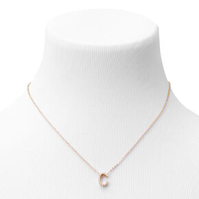 Gold Mini Pearl Initial Pendant Necklace - C,