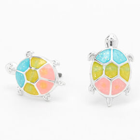 Pastel Rainbow Turtle Stud Earrings,
