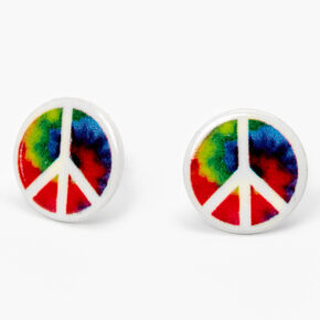 Rainbow Tie Dye Peace Sign Stud Earrings,