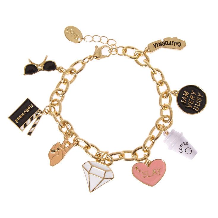 Gold Tone Hollywood Themed Charm Bracelet