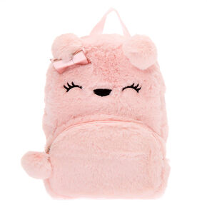 Claire's Club Furry Bear Small Backpack - Pink,
