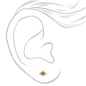 Gold Bee Stud Earrings - Yellow,