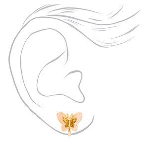 Clous d'oreilles à clip papillon couleur dorée - Rose tendre,
