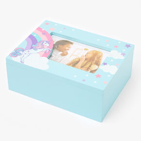 Rainbow Unicorn Trinket Keepsake Box - Light Blue,