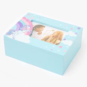 Boîte à souvenirs et bijoux licorne arc-en-ciel - Bleu clair,