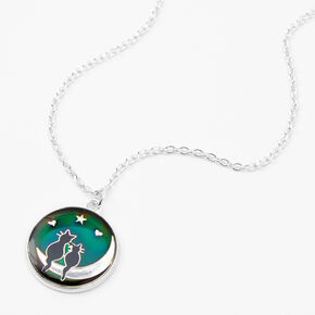 Cats on the Moon Mood Pendant Necklace,