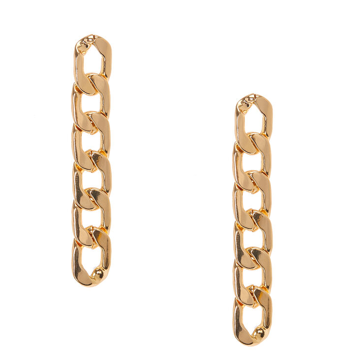 10d3cab1c736 Boucles d oreilles à pendentifs de longues chaines à maillons couleur dorés