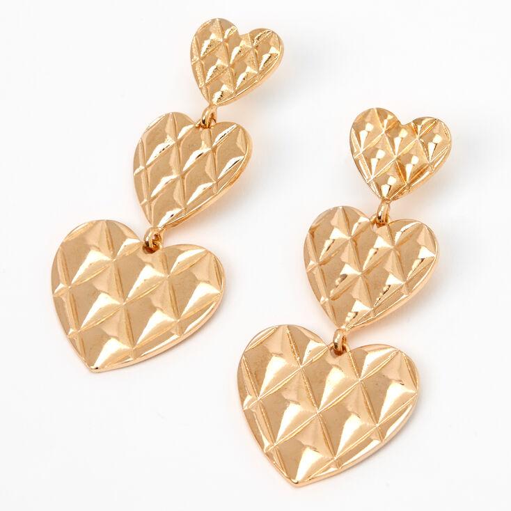 Pendantes linéaires cœurs matelassées 5cm couleur dorée,