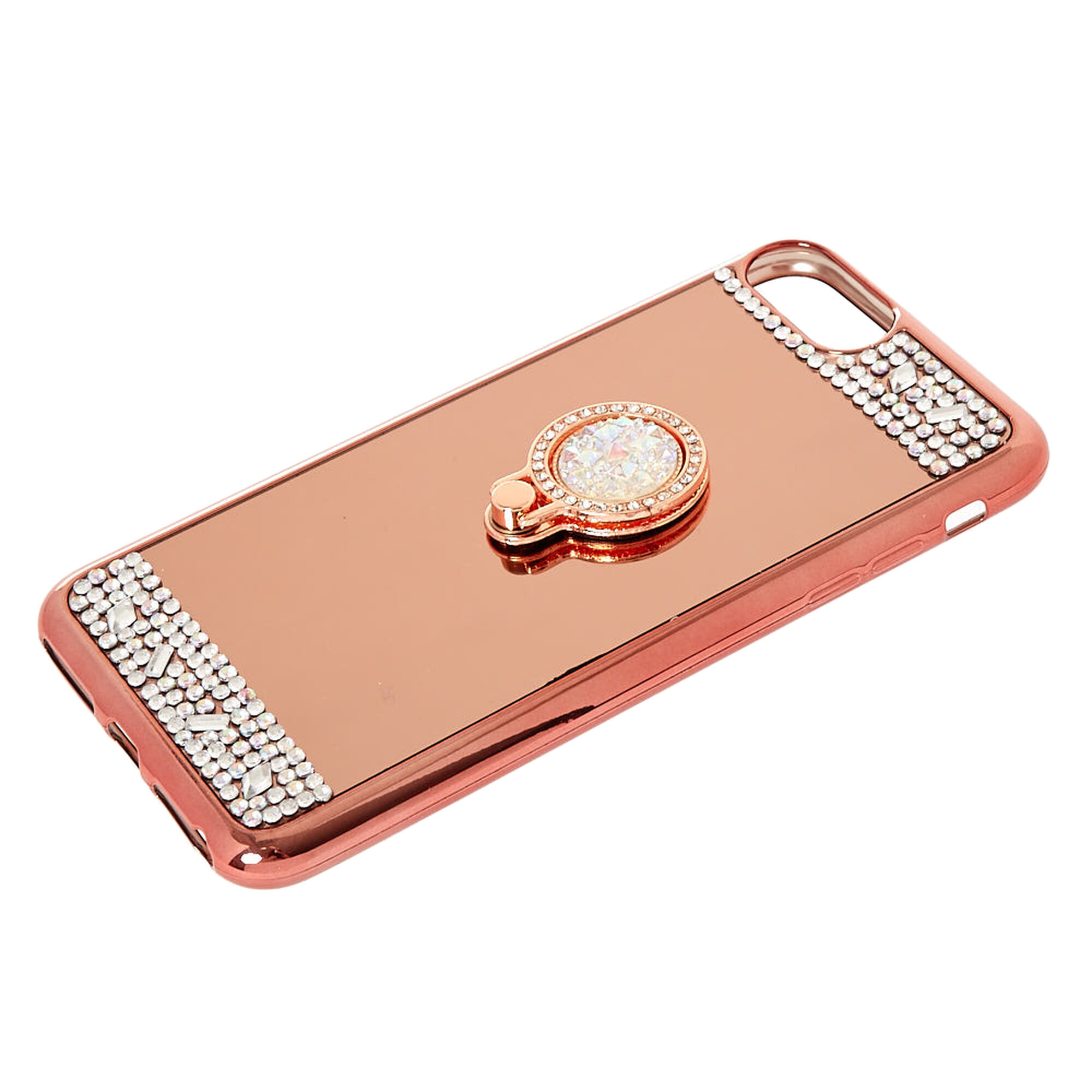 Rose gold mirrored ring stand phone case claire 39 s for Ring case