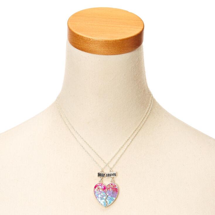 Best Friend Ombre Star Glitter Split Heart Necklaces,