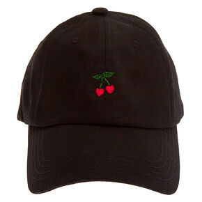 Cherry Hearts Baseball Cap - Black,