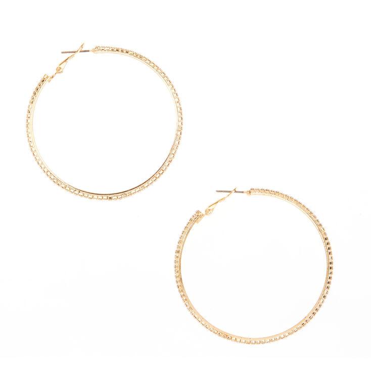 Gold 50MM Glass Rhinestone Studded Hoop Earrings,