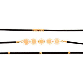 Gold Beaded Filigree Choker Necklaces - Black, 3 Pack,