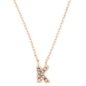 Rose Gold Embellished Initial Pendant Necklace - K,
