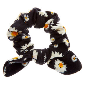 Small Floral Daisy Knotted Bow Hair Scrunchie - Black,