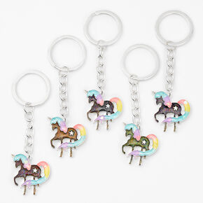 Rainbow Unicorn Best Friends Mood Keychains - 5 Pack,