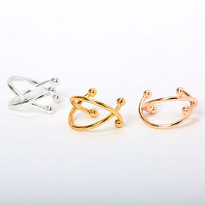 Mixed Metal Criss Cross Ear Cuffs - 3 Pack,