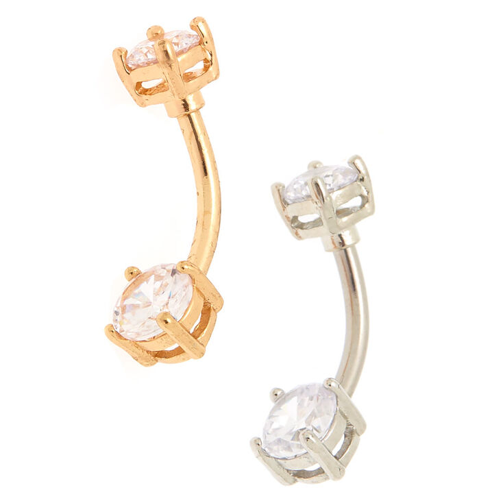 Mixed Metal 14G Cubic Zirconia Belly Rings - 2 Pack,