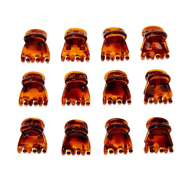 Tortoiseshell Mini Hair Claws - Brown, 12 Pack,