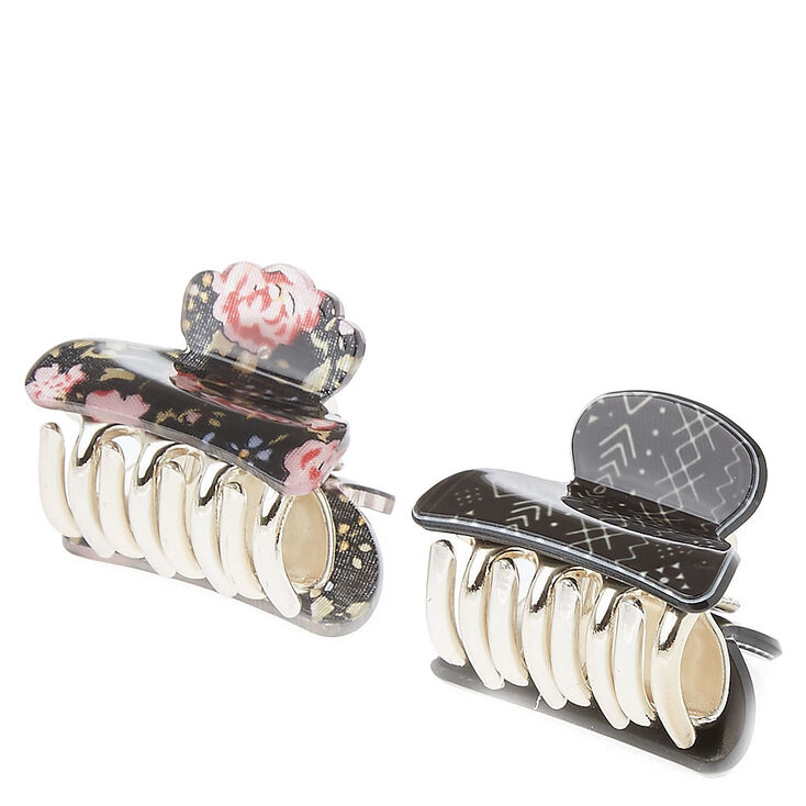 Floral Print Hair Claws - Black, 2 Pack,