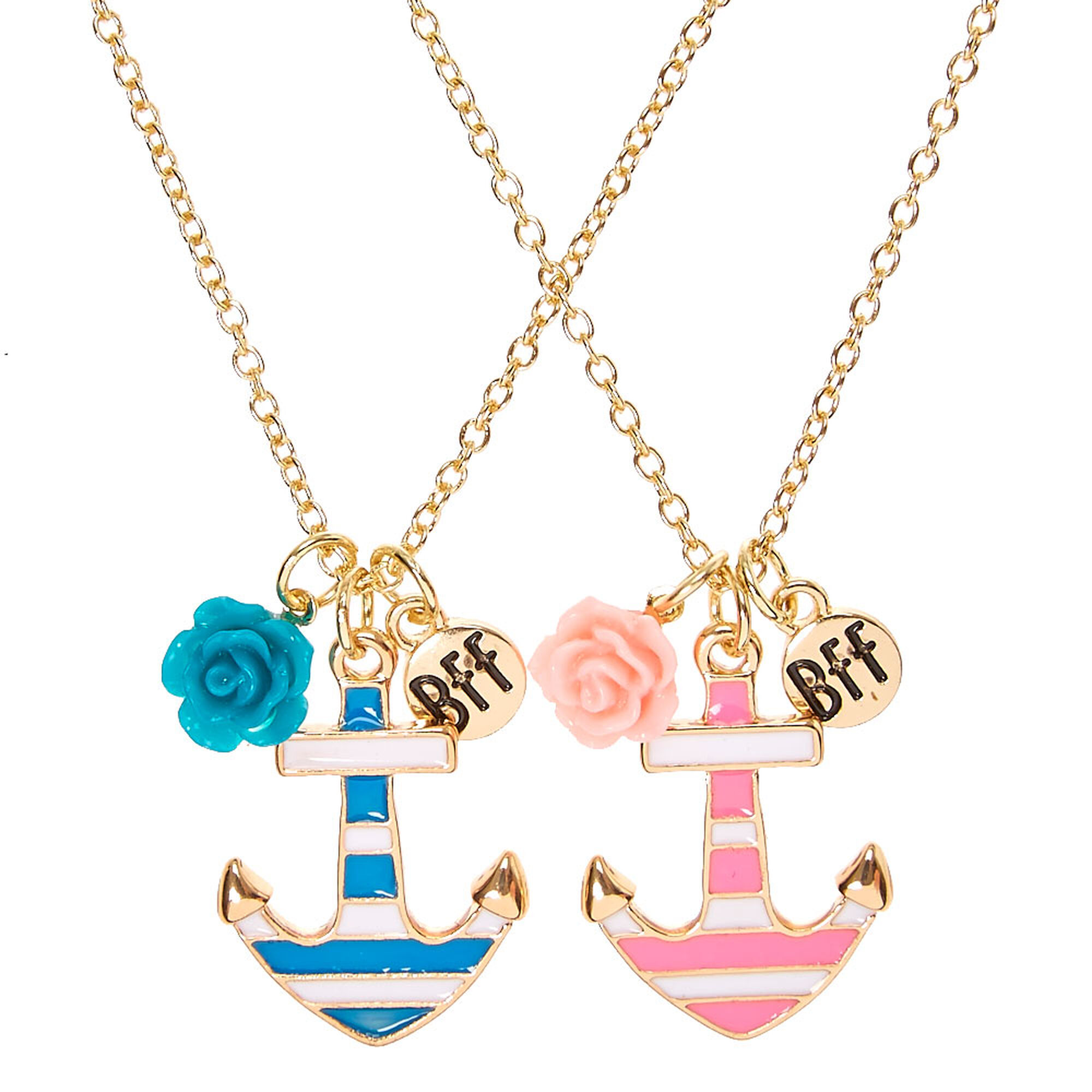 anchor best pendant friends claire tone chain necklace necklaces striped gold s