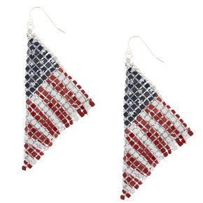 """3"""" American Flag Mesh Drop Earrings,"""
