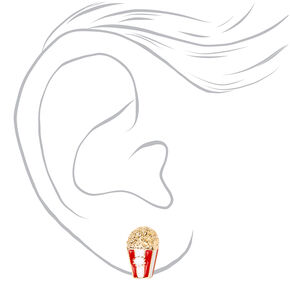 Gold Popcorn Box Clip On Stud Earrings,