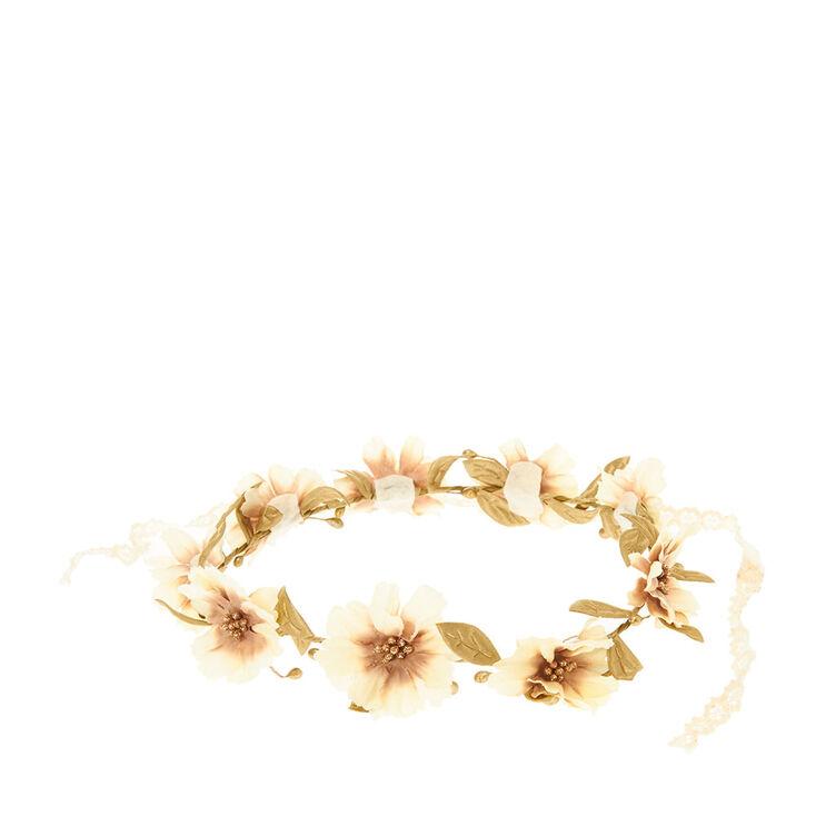 Couronne de fleur couleur dorée et crochet,