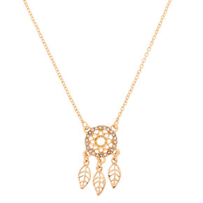 Gold Filigree Dreamcatcher Pendant Necklace,