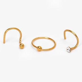 Clous et anneaux pour piercing de nez aux designs variés 0,8mm couleurs dorée et argentée - Lot de 3,