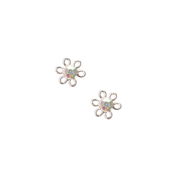 Claire's - sterling iridescent daisy stud earrings - 1