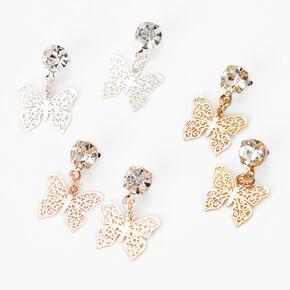 Pendantes papillon en filigrane 1,5cm en métaux mixtes - Lot de 3,