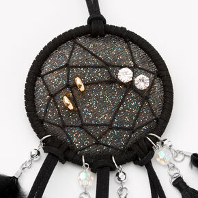 Sparkle Feather Dreamcatcher Wall Art - Black,