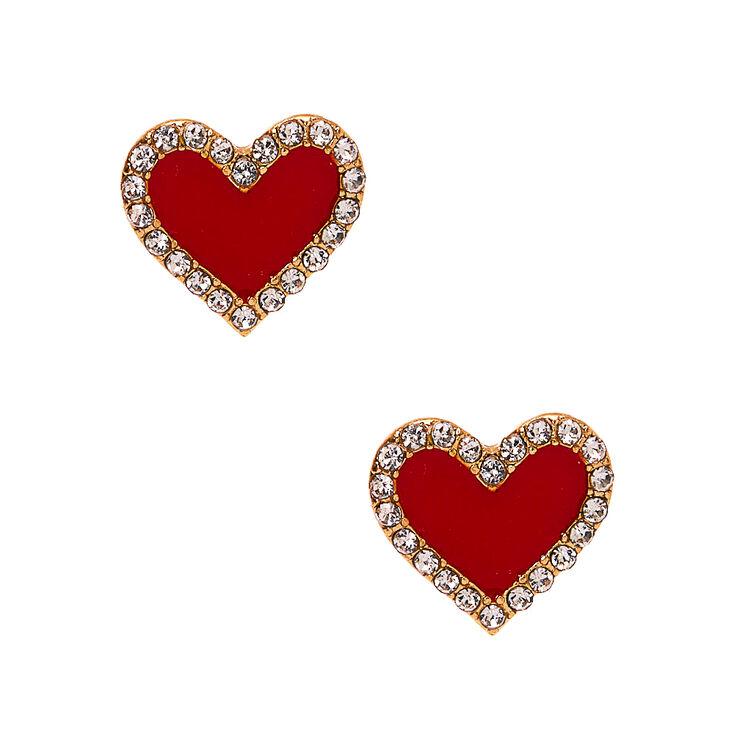 Gold Crystal Heart Stud Earrings - Red,