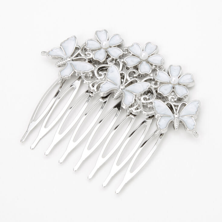 Claire's Club Silver Butterfly Floral Hair Comb,