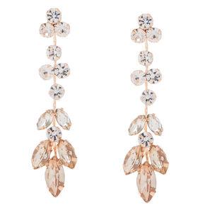 Rose Gold-tone Leaf Drop Earrings,