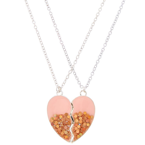Claire's - best friends glitter heart necklaces - 1